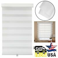 """HTTMT- 36"""" Zebra Blinds Shade Day Night Dual Layer Window Curtains Horizontal Wh"""