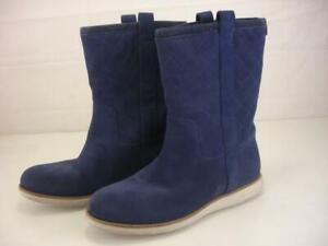 Women's 7.5 B M Cole Haan Roper Grand Quilted Waterproof Boots Blazer Blue Suede