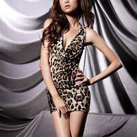 Frauen-reizvolle Leopard-Wäsche-Unterwäsche Backless Mini Dress Eng anliegend