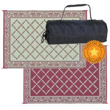 Reversible Mat & Carry Bag 6 x 9 ft Outdoor Patio Carpet Rv Camper Rug Camping