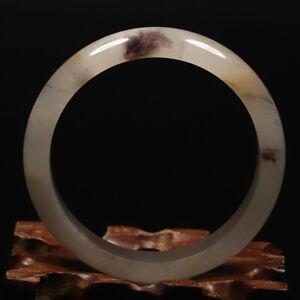52mm Grade A Certified 100% Natural Rose Lavender Icy Jade Bangle Bracelet 48608