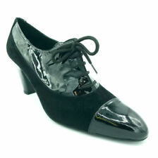 Cefalu Ladies Womens LaceUp High Heel High Front Black Patent Leather Smart 40.5