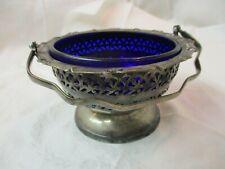 Vintage England Celtic Quality Silver plate Basket Bowl with Cobalt glass Insert