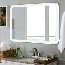 White LED Mirror Wall-mounted Bathroom Rounded Arc Corner Mirror Touch Durable