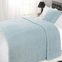 Dreamscene Waffle Soft Mink Warm Throw Over Sofa Bed Blanket 125 x 150 Duck Egg