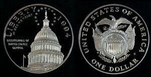 1994 S $1 United States Capitol Commemorative Cameo Proof Silver Dollar Coin