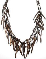 Halskette Holz natur Kokosholz Splitter dreiteilig   90 cm Naturschmuck