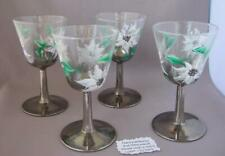 Christmas Set of four cocktail glasses silver stem  hand painted Poinsettias