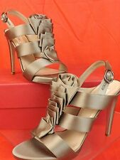 NIB VALENTINO TAUPE SATIN RUCHED STRAPPY SLINGBACK PLATFORM SANDALS PUMPS 38