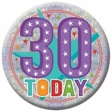 Holographic Happy 30th Birthday Badges 30 Today Party Accessories