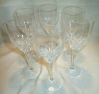 """Lot of 6 Clear Crystal Wine Glasses Goblets 7-3/4"""" tall x 2-3/4"""" wide"""
