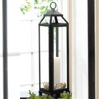 Tower Lantern Iron Glass Large 20in Tall Black Candleholder Wedding Centerpiece