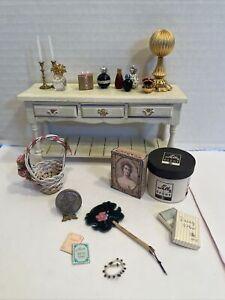 Vintage Artisan Ladies Decor Hat Stand Boxes Jewels Etc Dollhouse Miniature 1:12