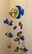"""Folk Art Colorful Wooden 16 Fish Mobile Wind Chime Handmade Painted 24"""""""