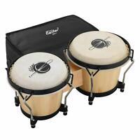 Eastar 2PCS Bongo Drums with Hard Bag Kids Children Beginner Bongo Drum Natural