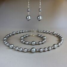 Vintage light grey pearl necklace bracelet earrings wedding bridal jewellery set