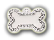 Engraved Pet Tag WHITE STONE BLING - Free Name & Phone number engraved on tag