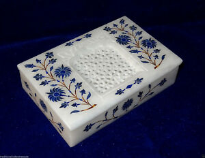 "6""x4""x1.5"" Filigree White Marble Jewelry Box Lapis Lazuli Inlay Marquetry Gifts"
