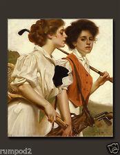 Women Golfers/Ladies Golf/Poster/17x22 in./Repro. Golf Print/Vintage Vogue