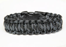 550 Paracord Survival Bracelet Cobra - Touch Of Grey - Grey Black