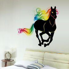 Running Horse With Colorful Hair Wall Decal DIY Animal Sticker for Living Room