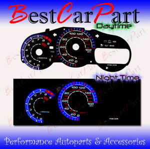 BLACK 00-05 Toyota Celica GTS INDIGLO GLOW BLUE/WHITE EL REVERSE GAUGES