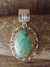 Native American Jewelry Sterling Silver Turquoise Pendant - G. Yazzie