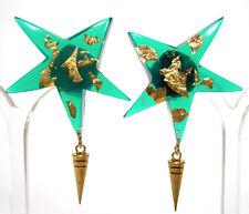 SoHo® Ohrclips Diana Stern Blattgold grün Kunstharz retro resin Kaltemail gold