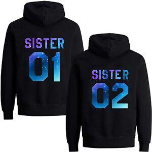 BFF Damen Hoodie Set Sister 01 02 Best Friends Beste Freunde Pullover Kapuze