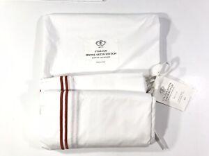 NWT! Restoration Hardware Italian Hotel Satin Stitch Red Stripes Twin Bed Skirt