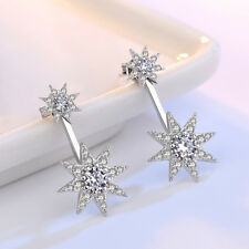 Original Real 925 Silver Women Zircon Crystal Sun Flower Long Stud Earrings