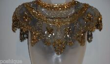 Gold Lace Dangle Sequin India Shawl Wrap Scarf Black Beaded Shiny STUNNING