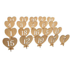 1-20 Wooden Heart Table Number Freestanding for Wedding Table Supply