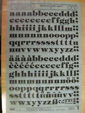 1 x Letraset Rub-on Black Letters 72pt 18mm Tiffany Heavy Sheet No LG1612