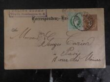 1883 Vienna Austria Postal Stationary Cover To Paris France