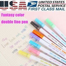Drawing Double Line Outline Pen Highlighter Marker Pen 8 Colors/Set For School