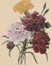 Flores cross stitch chart-Claveles 173-flowerpower 37-UK -... Gratis Reino Unido P&p..