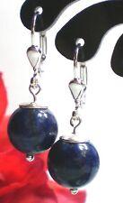 Schicke Lapis Lazuli Ohrringe Ohrhänger 10 mm Kugeln Blau 925 Silber