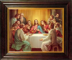 Last Supper Framed Picture Christian Sacred Heart of Jesus & 12 Apostles