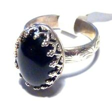 Cocktail Ring Sterling Silver Black Onyx Size 5 Artisan made by SmithSilver