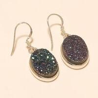 Natural Rainbow Titanium Druzy Earring 925 Sterling Silver Handmade Fine Jewelry