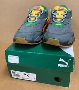 Men's PUMA RS-Fast EYV Casual Sneaker Grey Green Yellow Orange Size 10 NEW
