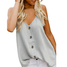Women Summer V Neck Vest Sleeveless Button Lace Camis Blouse Casual Tank Tops