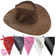 BROWN FAUX SUEDE COWBOY HAT AND PAISLEY BANDANA WILD WEST FANCY DRESS COSTUME