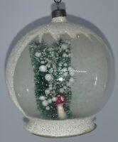 VINTAGE DIORAMA GLASS CHRISTMAS ORNAMENT - 'GOOD LUCK' TOADSTOOL