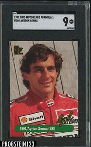 1992 Grid Motorcard Formula 1 Racing #186 Ayrton Senna SGC 9 MINT