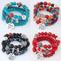 """I LOVE YOU"" Multilayer Beaded Bracelet Natural Stone Crystal Bangle Women"
