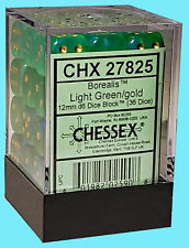 CHESSEX BOREALIS LIGHT GREEN WITH GOLD 36 die set NEW d6 dice block 12mm rpg