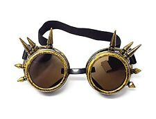 Steampunk Goggles Gold with Brown Lenses Spike Cyber Vintage Retro Glasses