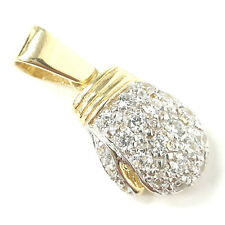 9ct Solid Gold Boxing Glove Pendant 7.7g Cubic Zirconia HALLMARKED Yellow Gold